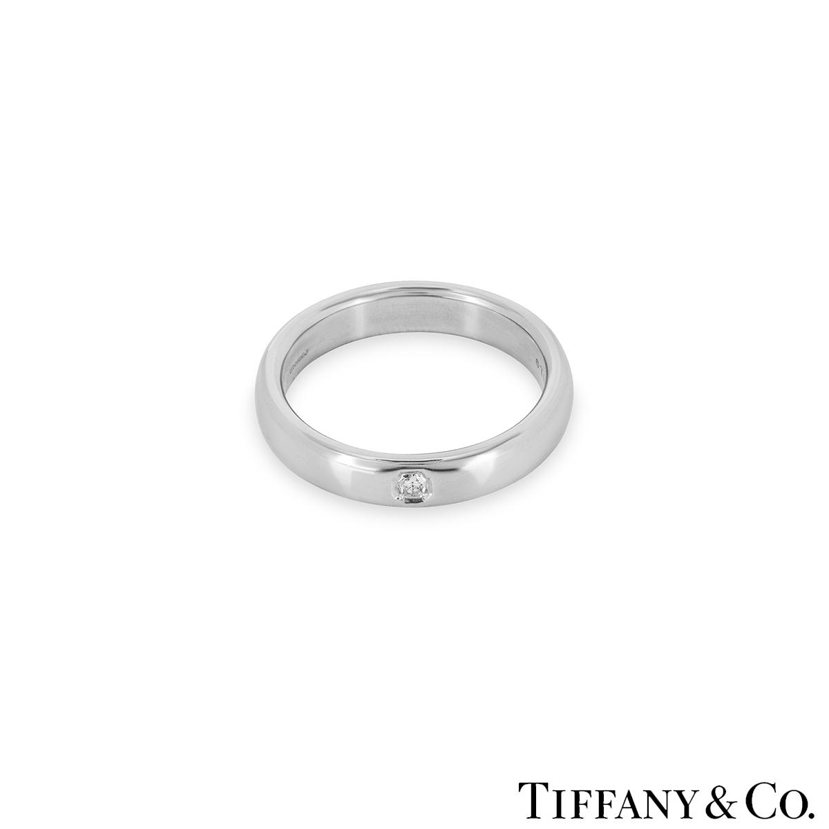 Tiffany Co Platinum Lucida 2mm Wedding Band Ring Sz 8: Tiffany Lucida Ring